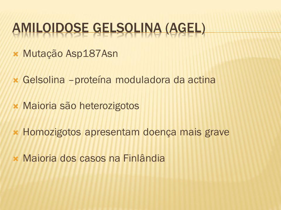 Mutação Asp187Asn Gelsolina –proteína moduladora da actina Maioria são heterozigotos Homozigotos apresentam doença mais grave Maioria dos casos na Fin