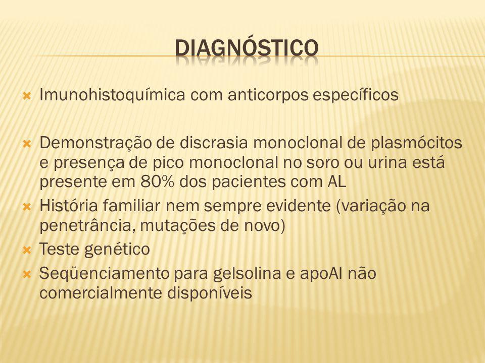 Imunohistoquímica com anticorpos específicos Demonstração de discrasia monoclonal de plasmócitos e presença de pico monoclonal no soro ou urina está p