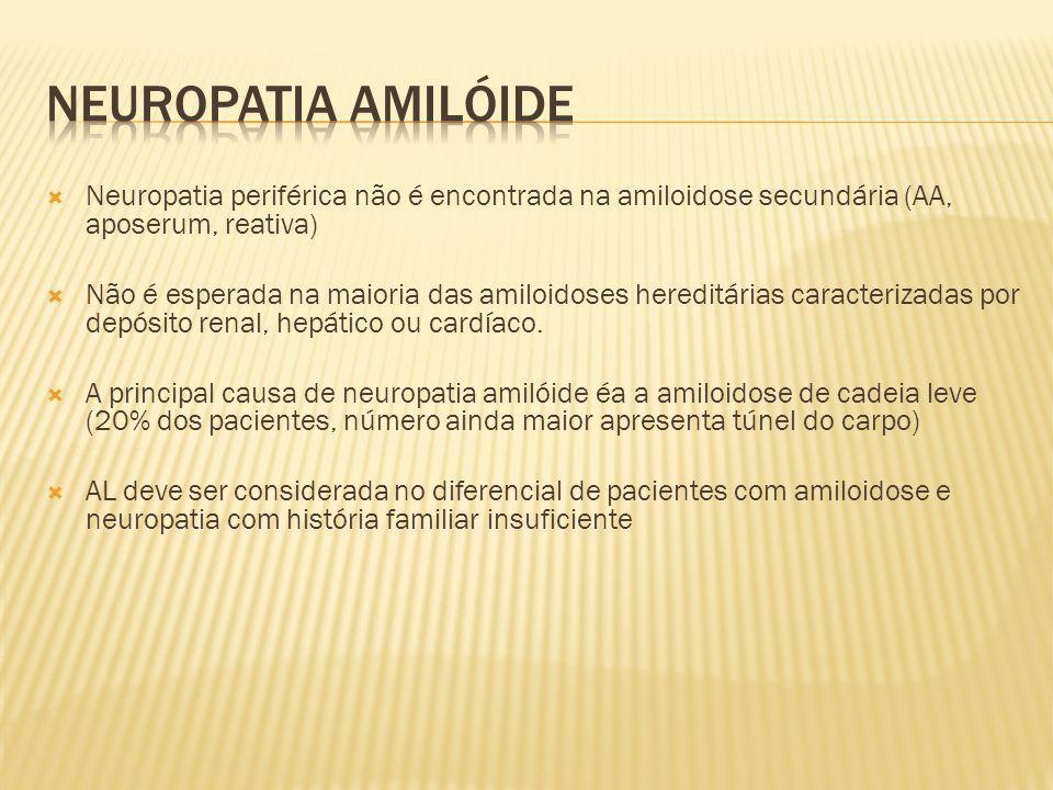 Neuropatia periférica não é encontrada na amiloidose secundária (AA, aposerum, reativa) Não é esperada na maioria das amiloidoses hereditárias caracte