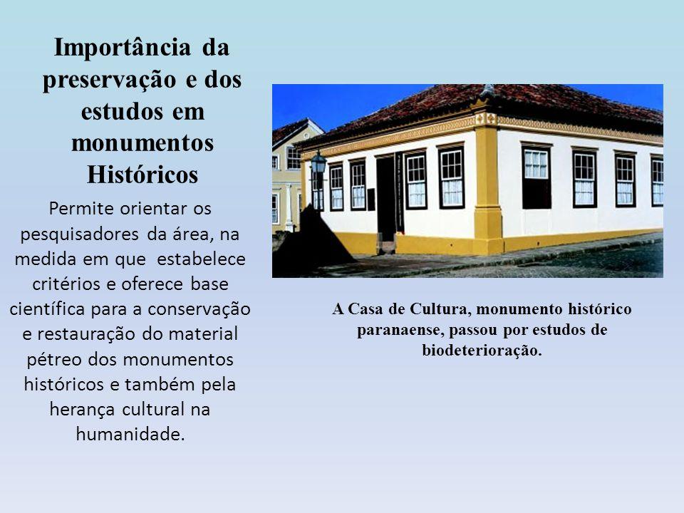 Importância da preservação e dos estudos em monumentos Históricos Permite orientar os pesquisadores da área, na medida em que estabelece critérios e o