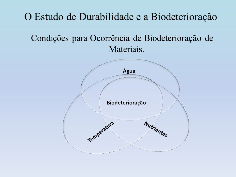 Biodeterioração Poluição atmosférica influencia os processos biológicos de degradação das rochas; A poluição do ar aumenta o crescimento do Biofilme e a Biodeterioração, (amônia); Uso intensivo de combustíveis derivados de petróleo.