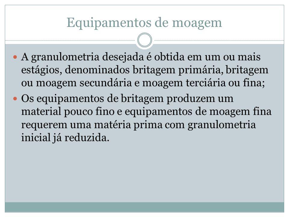Equipamentos de moagem A granulometria desejada é obtida em um ou mais estágios, denominados britagem primária, britagem ou moagem secundária e moagem