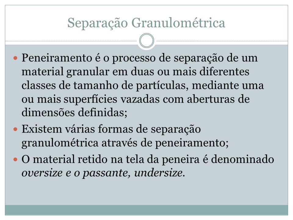 Separação Granulométrica Peneiramento é o processo de separação de um material granular em duas ou mais diferentes classes de tamanho de partículas, m
