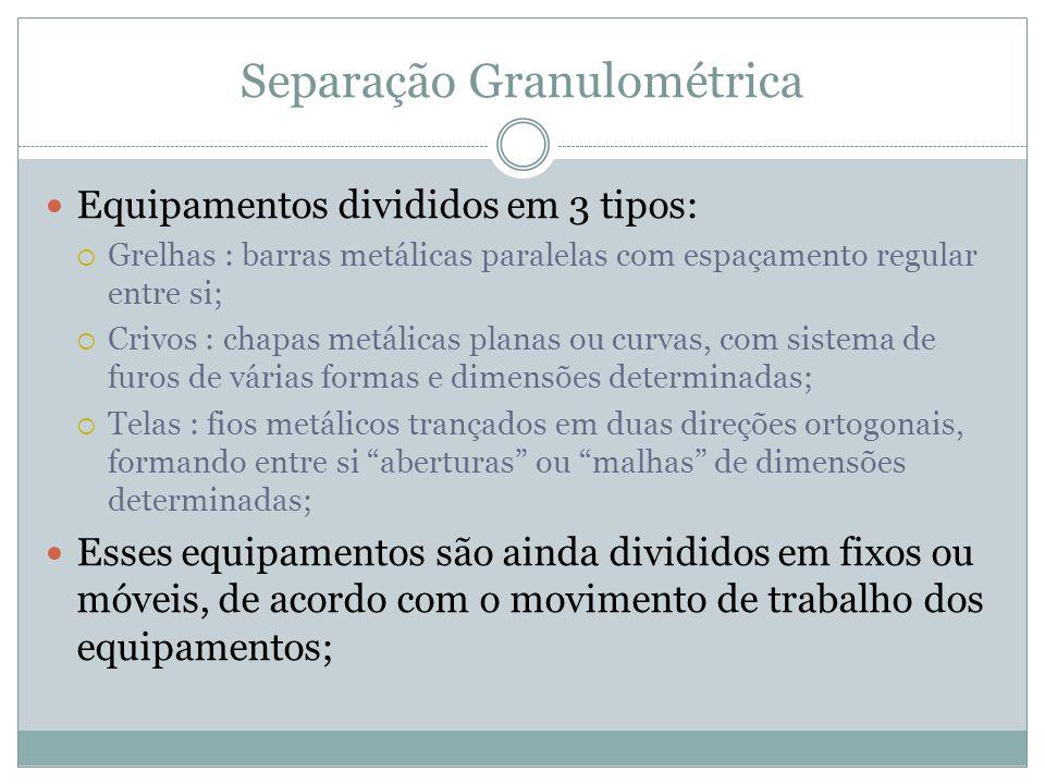 Separação Granulométrica Equipamentos divididos em 3 tipos: Grelhas : barras metálicas paralelas com espaçamento regular entre si; Crivos : chapas met