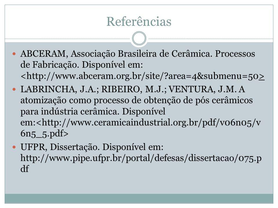 Referências ABCERAM, Associação Brasileira de Cerâmica. Processos de Fabricação. Disponível em: LABRINCHA, J.A.; RIBEIRO, M.J.; VENTURA, J.M. A atomiz