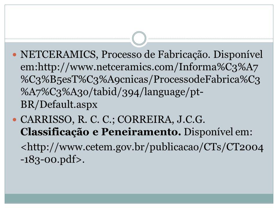 NETCERAMICS, Processo de Fabricação. Disponível em:http://www.netceramics.com/Informa%C3%A7 %C3%B5esT%C3%A9cnicas/ProcessodeFabrica%C3 %A7%C3%A3o/tabi
