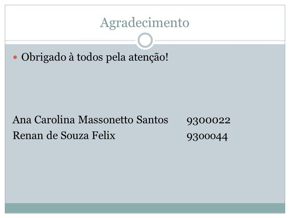 Agradecimento Obrigado à todos pela atenção! Ana Carolina Massonetto Santos9300022 Renan de Souza Felix 93ooo44