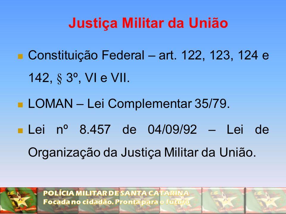 Justiça Militar da União Constituição Federal – art. 122, 123, 124 e 142, § 3º, VI e VII. LOMAN – Lei Complementar 35/79. Lei nº 8.457 de 04/09/92 – L