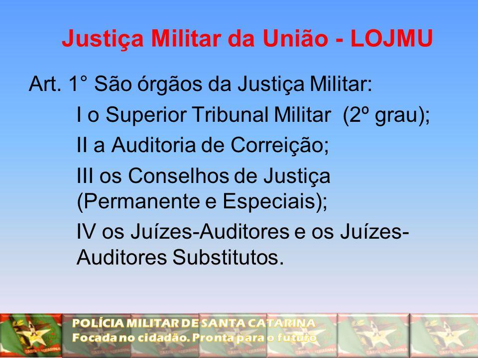 Justiça Militar da União - LOJMU Art. 1° São órgãos da Justiça Militar: I o Superior Tribunal Militar (2º grau); II a Auditoria de Correição; III os C