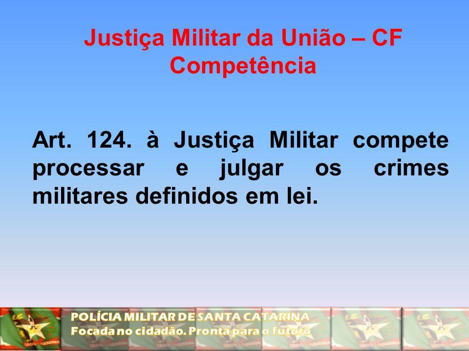 Justiça Militar da União – CF Competência Art. 124. à Justiça Militar compete processar e julgar os crimes militares definidos em lei.