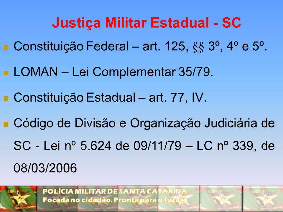 Justiça Militar Estadual - SC Constituição Federal – art. 125, §§ 3º, 4º e 5º. LOMAN – Lei Complementar 35/79. Constituição Estadual – art. 77, IV. Có