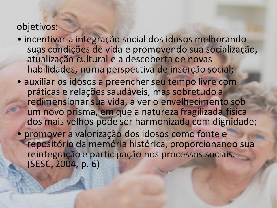 objetivos: incentivar a integração social dos idosos melhorando suas condições de vida e promovendo sua socialização, atualização cultural e a descobe