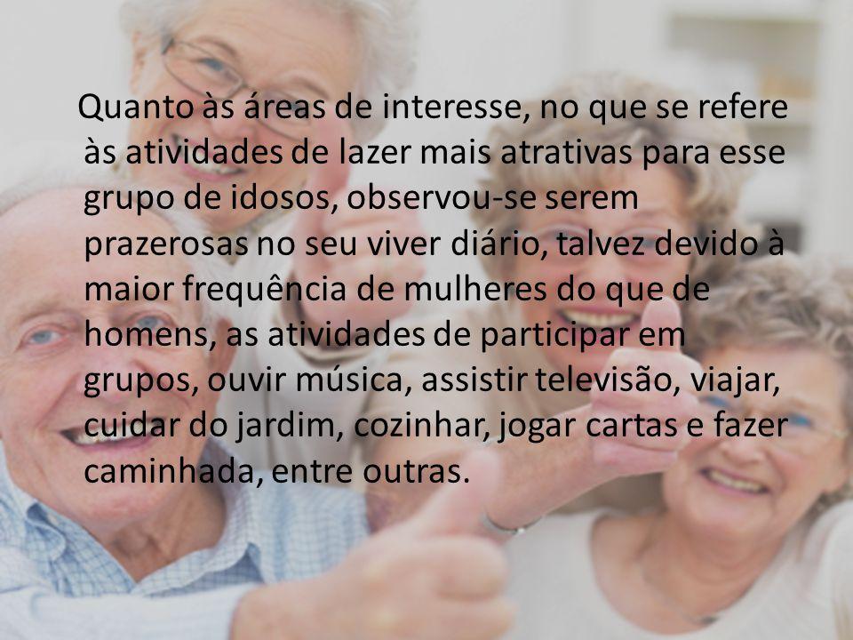 Quanto às áreas de interesse, no que se refere às atividades de lazer mais atrativas para esse grupo de idosos, observou-se serem prazerosas no seu vi