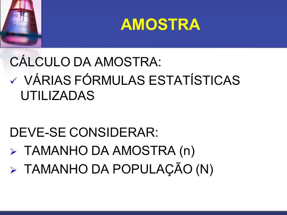 CÁLCULO DA AMOSTRA: VÁRIAS FÓRMULAS ESTATÍSTICAS UTILIZADAS DEVE-SE CONSIDERAR: TAMANHO DA AMOSTRA (n) TAMANHO DA POPULAÇÃO (N) AMOSTRA