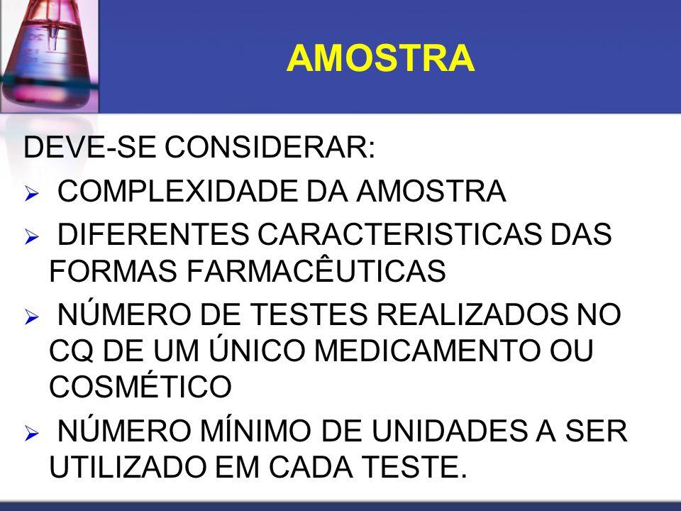 DEVE-SE CONSIDERAR: COMPLEXIDADE DA AMOSTRA DIFERENTES CARACTERISTICAS DAS FORMAS FARMACÊUTICAS NÚMERO DE TESTES REALIZADOS NO CQ DE UM ÚNICO MEDICAME