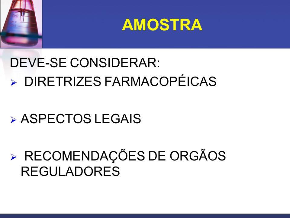 DEVE-SE CONSIDERAR: DIRETRIZES FARMACOPÉICAS ASPECTOS LEGAIS RECOMENDAÇÕES DE ORGÃOS REGULADORES AMOSTRA