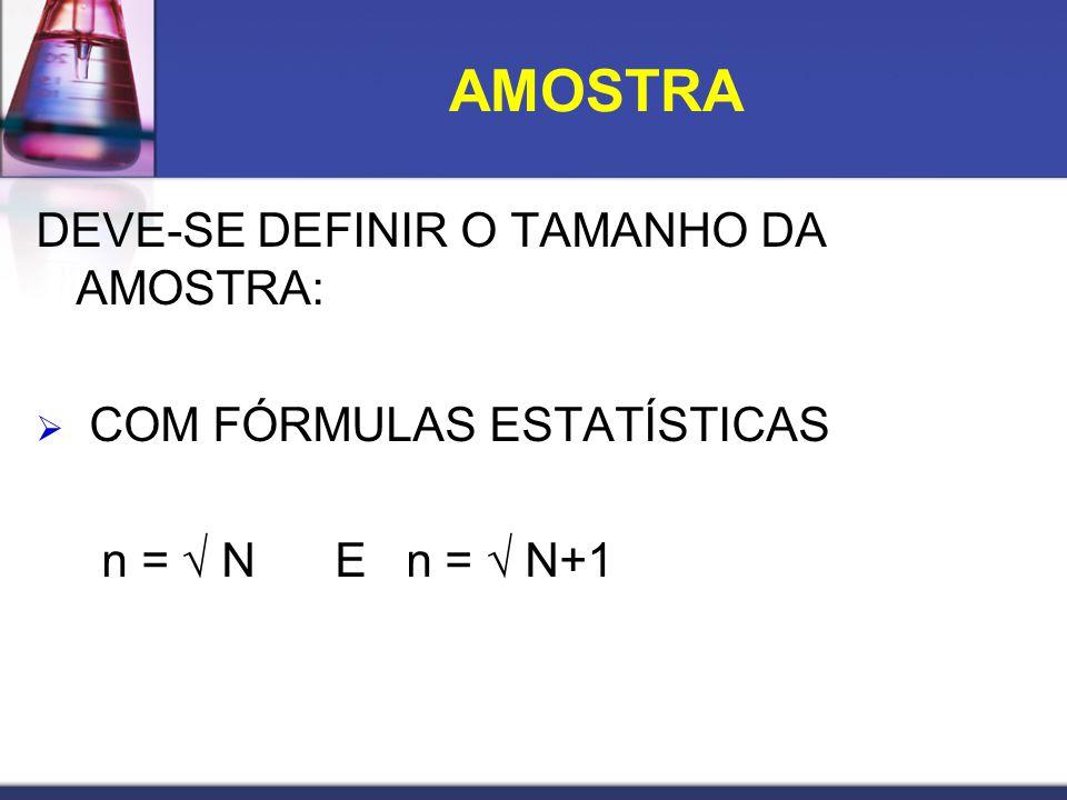 DEVE-SE DEFINIR O TAMANHO DA AMOSTRA: COM FÓRMULAS ESTATÍSTICAS n = N E n = N+1 AMOSTRA