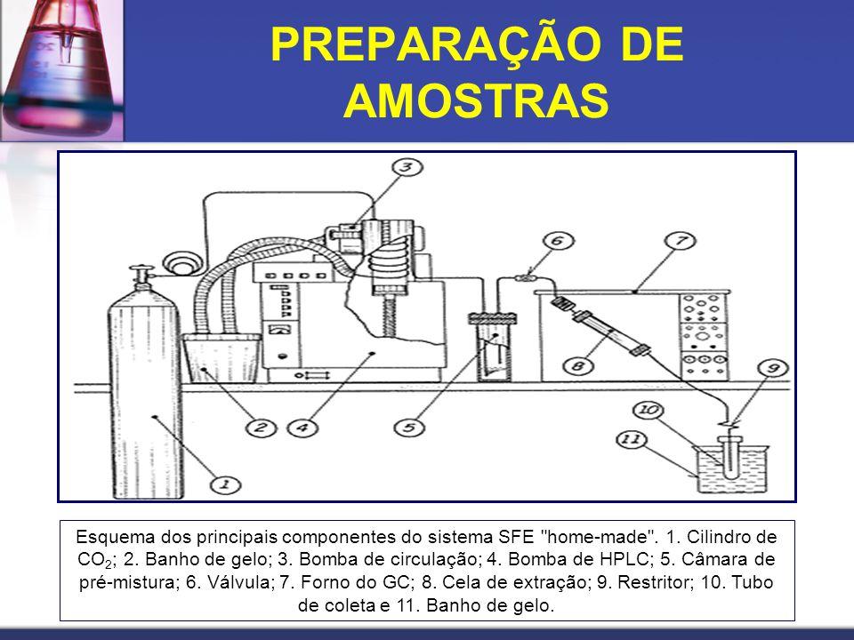 PREPARAÇÃO DE AMOSTRAS Esquema dos principais componentes do sistema SFE