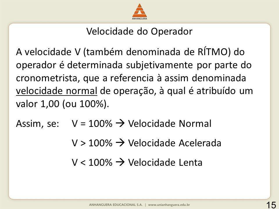 Velocidade do Operador A velocidade V (também denominada de RÍTMO) do operador é determinada subjetivamente por parte do cronometrista, que a referenc