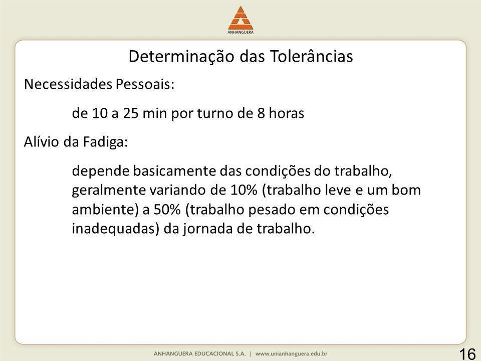 Determinação das Tolerâncias Necessidades Pessoais: de 10 a 25 min por turno de 8 horas Alívio da Fadiga: depende basicamente das condições do trabalh