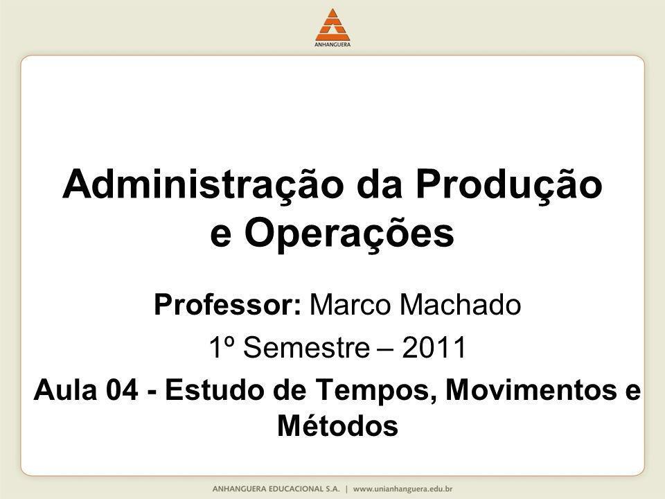Professor: Marco Machado 1º Semestre – 2011 Aula 04 - Estudo de Tempos, Movimentos e Métodos