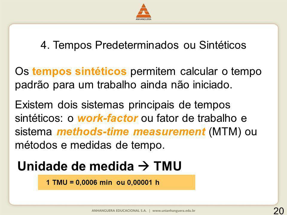 4. Tempos Predeterminados ou Sintéticos Os tempos sintéticos permitem calcular o tempo padrão para um trabalho ainda não iniciado. Existem dois sistem