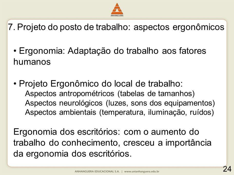 24 Ergonomia: Adaptação do trabalho aos fatores humanos Projeto Ergonômico do local de trabalho: Aspectos antropométricos (tabelas de tamanhos) Aspect