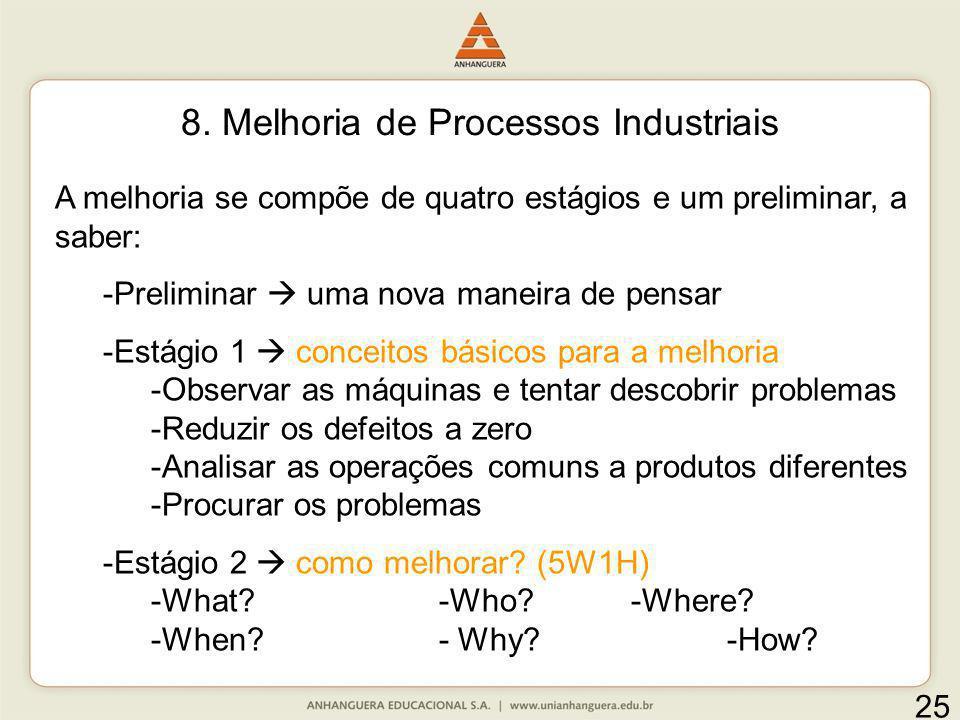 8. Melhoria de Processos Industriais A melhoria se compõe de quatro estágios e um preliminar, a saber: -Preliminar uma nova maneira de pensar -Estágio