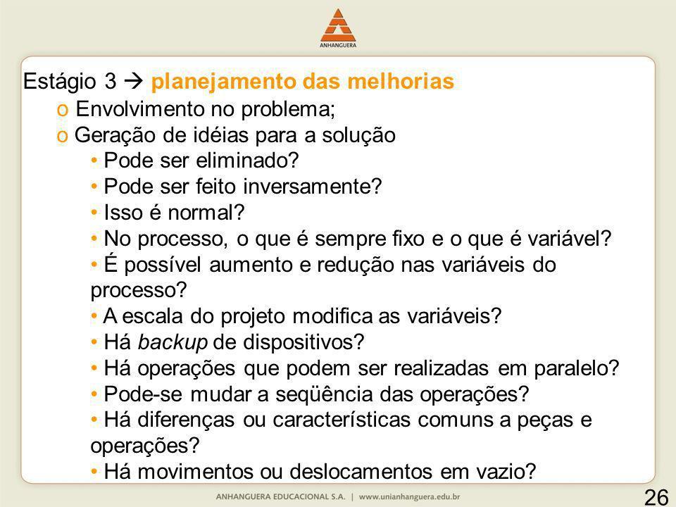 Estágio 3 planejamento das melhorias o Envolvimento no problema; o Geração de idéias para a solução Pode ser eliminado? Pode ser feito inversamente? I
