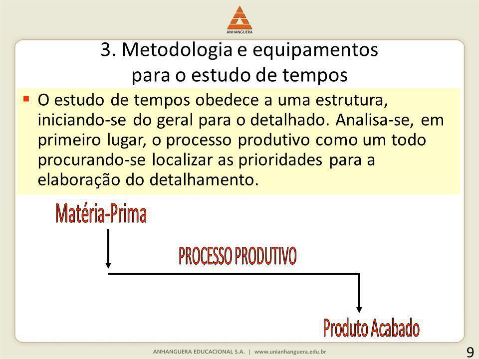 3. Metodologia e equipamentos para o estudo de tempos 9 O estudo de tempos obedece a uma estrutura, iniciando-se do geral para o detalhado. Analisa-se