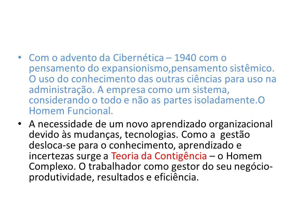 Com o advento da Cibernética – 1940 com o pensamento do expansionismo,pensamento sistêmico. O uso do conhecimento das outras ciências para uso na admi