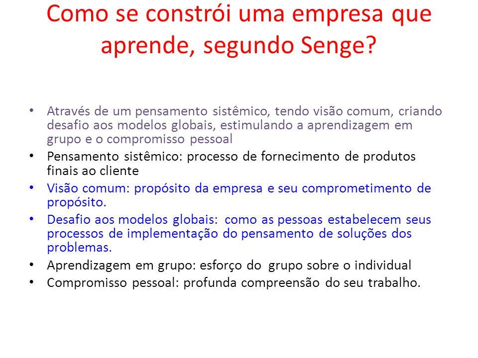 Como se constrói uma empresa que aprende, segundo Senge? Através de um pensamento sistêmico, tendo visão comum, criando desafio aos modelos globais, e