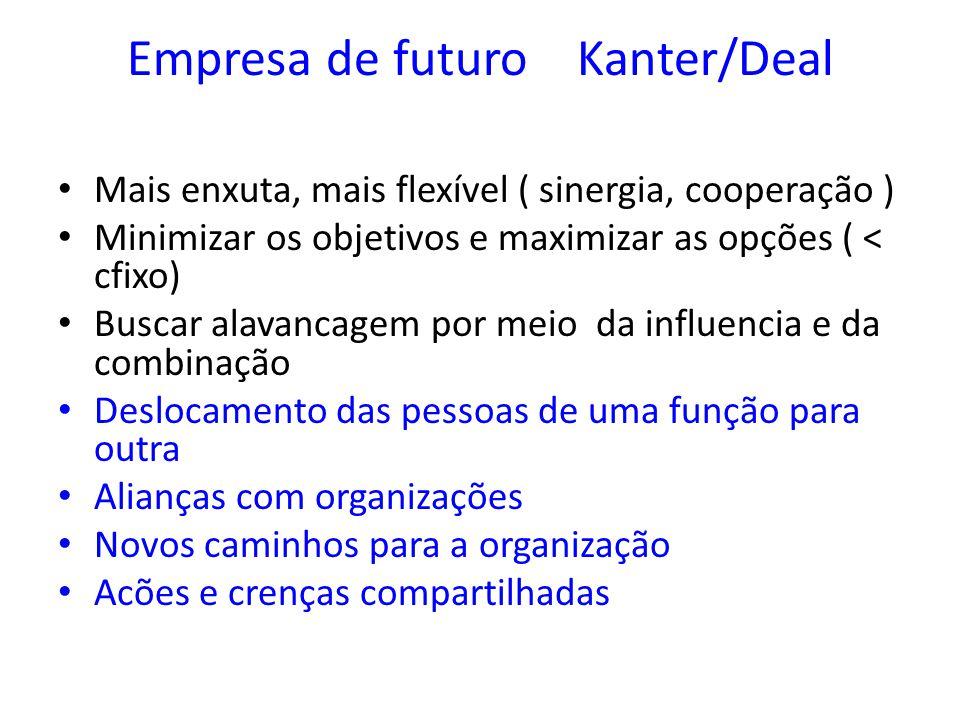 Empresa de futuro Kanter/Deal Mais enxuta, mais flexível ( sinergia, cooperação ) Minimizar os objetivos e maximizar as opções ( < cfixo) Buscar alava