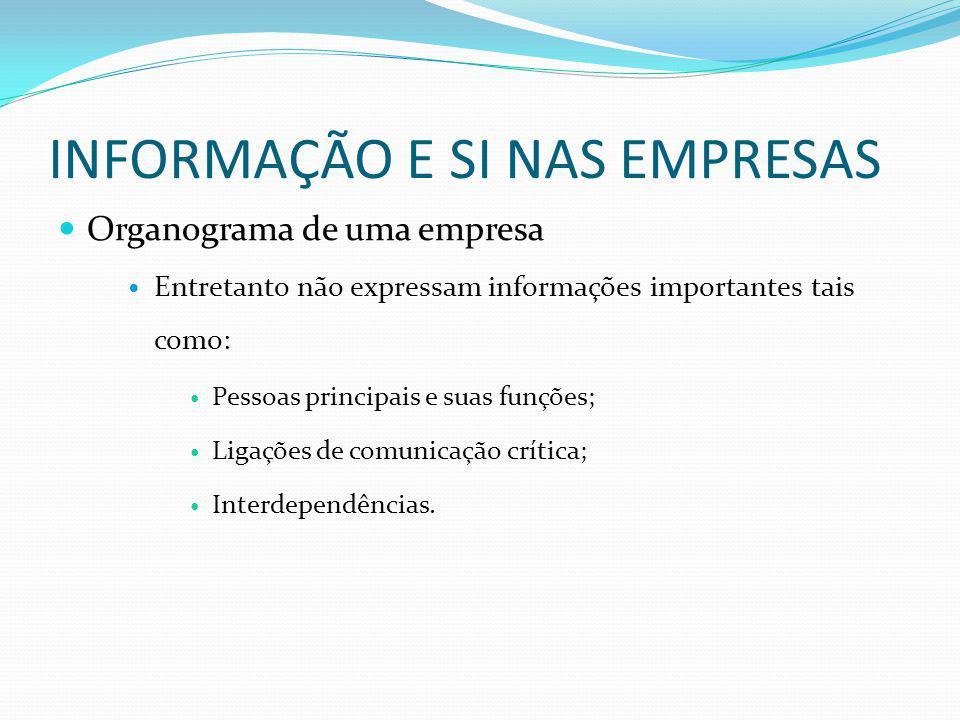INFORMAÇÃO E SI NAS EMPRESAS Organograma de uma empresa Entretanto não expressam informações importantes tais como: Pessoas principais e suas funções;