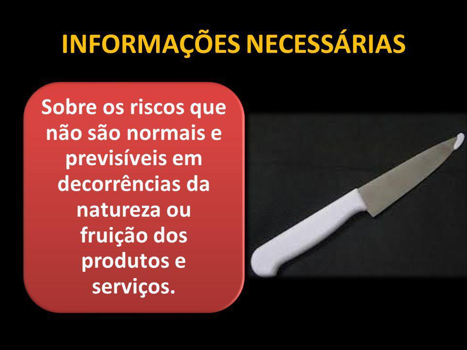 INFORMAÇÕES NECESSÁRIAS Sobre os riscos que não são normais e previsíveis em decorrências da natureza ou fruição dos produtos e serviços.