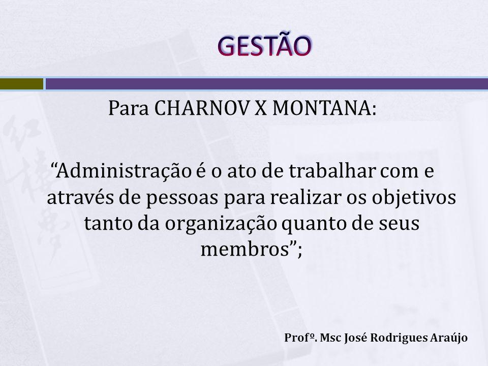 Para CHARNOV X MONTANA: Administração é o ato de trabalhar com e através de pessoas para realizar os objetivos tanto da organização quanto de seus mem