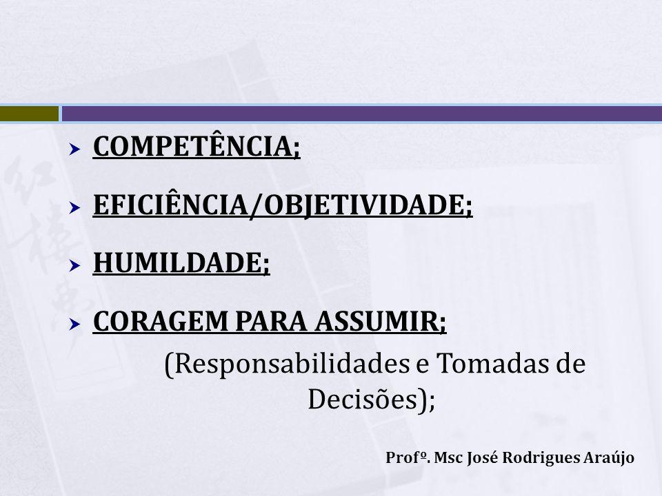 COMPETÊNCIA; EFICIÊNCIA/OBJETIVIDADE; HUMILDADE; CORAGEM PARA ASSUMIR; (Responsabilidades e Tomadas de Decisões); Profº. Msc José Rodrigues Araújo