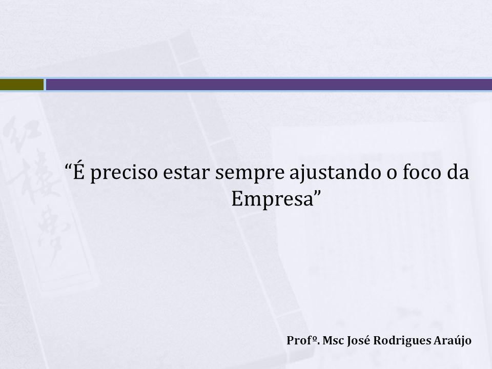 É preciso estar sempre ajustando o foco da Empresa Profº. Msc José Rodrigues Araújo