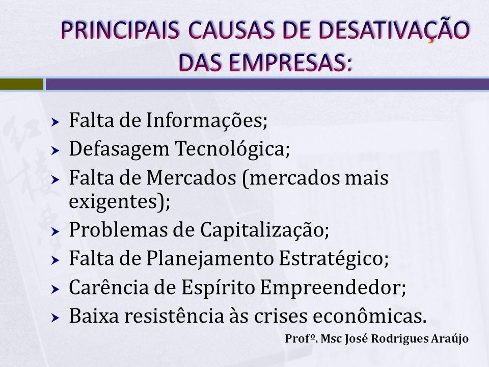 Falta de Informações; Defasagem Tecnológica; Falta de Mercados (mercados mais exigentes); Problemas de Capitalização; Falta de Planejamento Estratégic