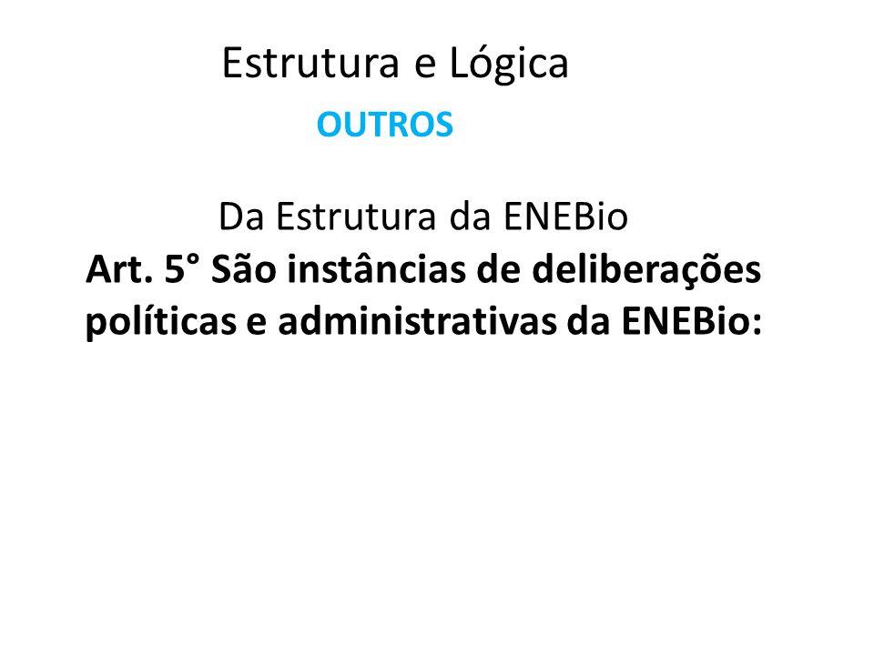 Art. 1° A ENEBio é a entidade representativa, a partir de suas instâncias horizontais democráticas, de todos/as os/as estudantes de Biologia do Brasil