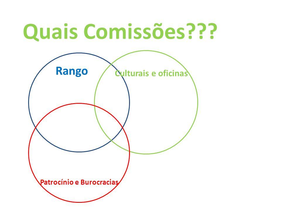 Quais Comissões??? Rango Culturais e oficinas