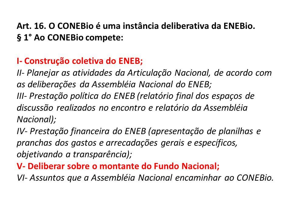 Art. 16. O CONEBio é uma instância deliberativa da ENEBio. § 1° Ao CONEBio compete: I- Construção coletiva do ENEB; II- Planejar as atividades da Arti