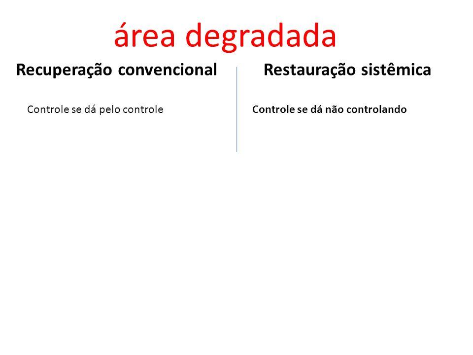 Restauração sistêmicaRecuperação convencional área degradada Controle se dá pelo controle