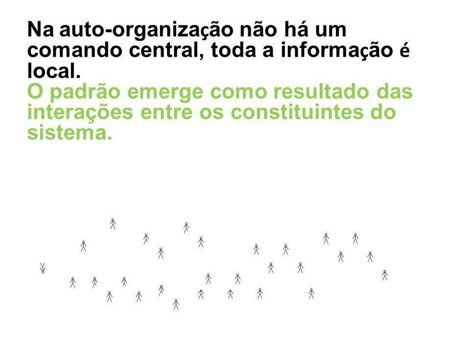 Na auto-organiza ç ão não há um comando central, toda a informa ç ão é local. O padrão emerge como resultado das intera ç ões entre os constituintes d