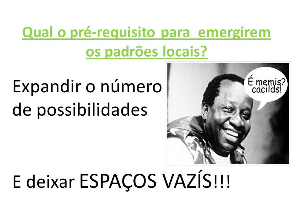 Qual o pré-requisito para emergirem os padrões locais? Expandir o número de possibilidades E deixar ESPAÇOS VAZÍS !!!