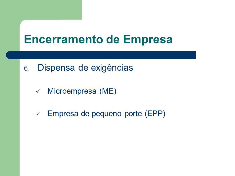 Encerramento de Empresa 6. Dispensa de exigências Microempresa (ME) Empresa de pequeno porte (EPP)