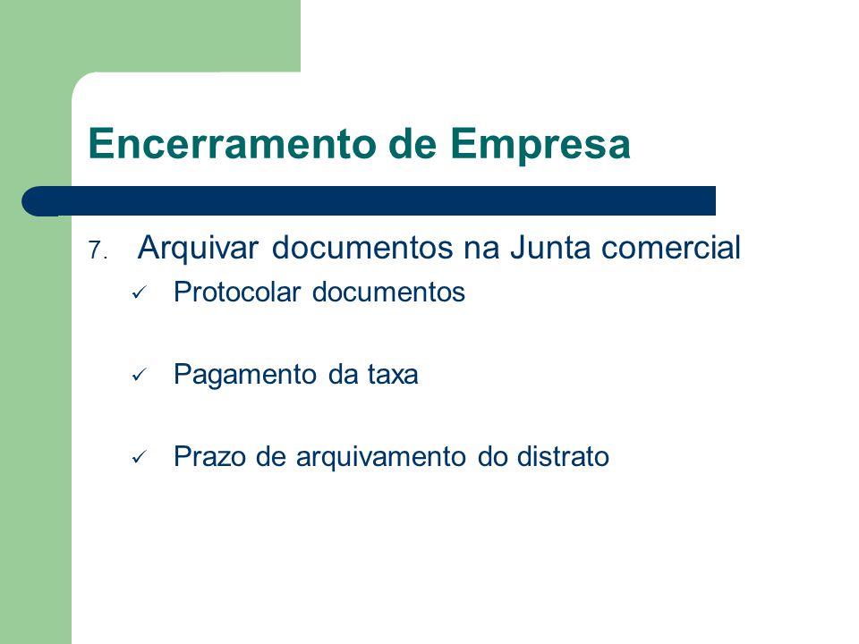 Encerramento de Empresa 7. Arquivar documentos na Junta comercial Protocolar documentos Pagamento da taxa Prazo de arquivamento do distrato