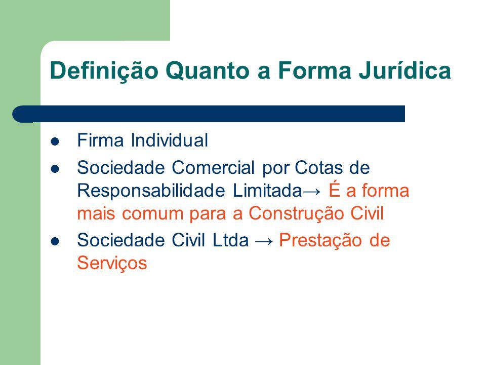 Definição Quanto a Forma Jurídica Firma Individual Sociedade Comercial por Cotas de Responsabilidade Limitada É a forma mais comum para a Construção C