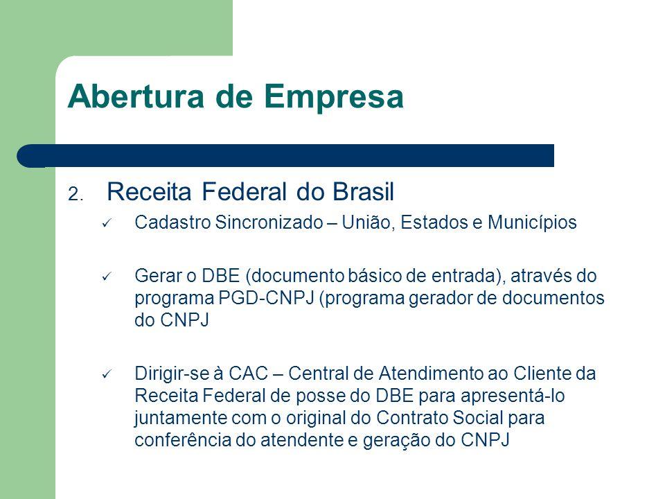 Abertura de Empresa 2. Receita Federal do Brasil Cadastro Sincronizado – União, Estados e Municípios Gerar o DBE (documento básico de entrada), atravé