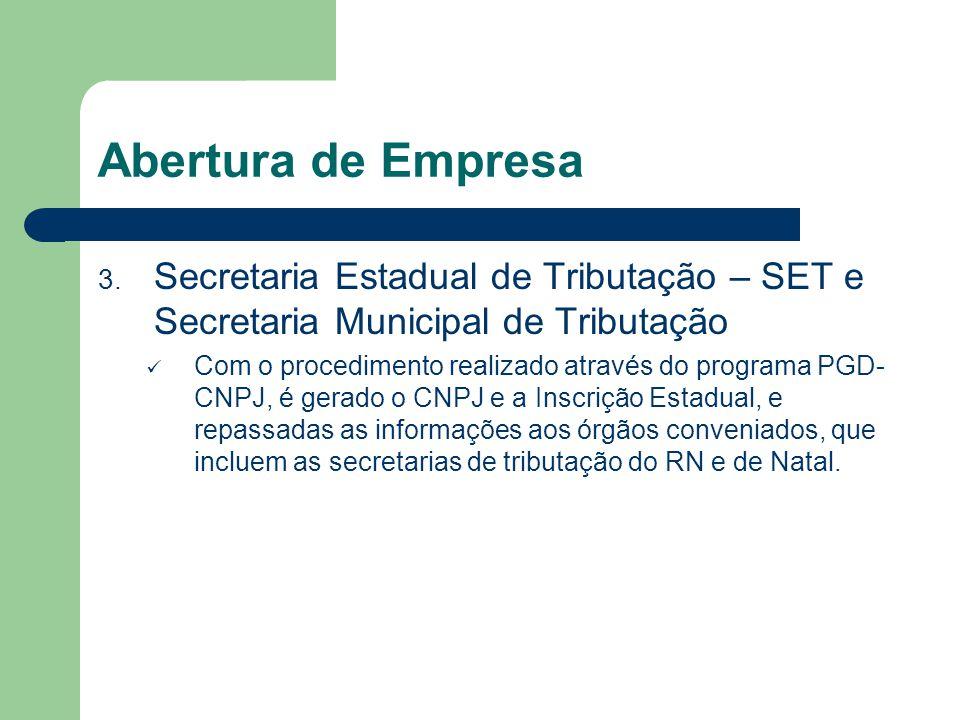 Abertura de Empresa 3. Secretaria Estadual de Tributação – SET e Secretaria Municipal de Tributação Com o procedimento realizado através do programa P